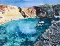 Aquarell Boote vor Lanzarote