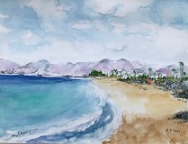 Aquarell Strand-in-Puerto-del-Carmen