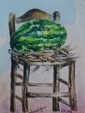 Postkarte_Stuhl_mit_Wassermelone