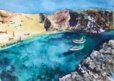 Postkarte Boote vor Lanzarote