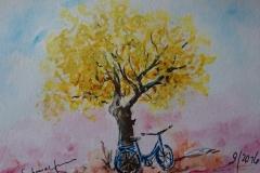 Postkarte_Fahrrad_unterm_Baum