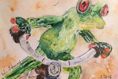 Postkarte_Frosch_auf_dem_Rad
